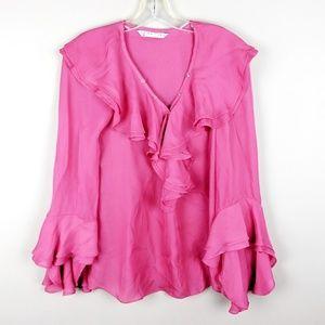 Trina Turk | Pink Ruffled Blouse - H6